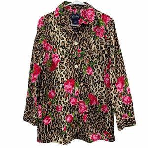 Nick & Nora Leopard Floral Pajama Sleep Shirt